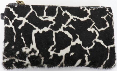 Leather Animal Print Purse/Wallet - Dark Cow